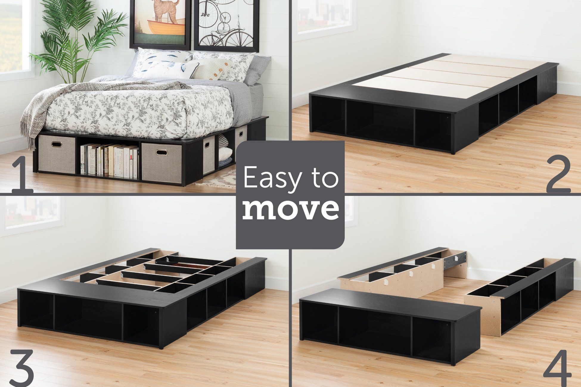 Black Oak Full Size Platform Bed With Storage And Baskets Flexible Platform Bed With Storage Diy Platform Bed King Storage Bed