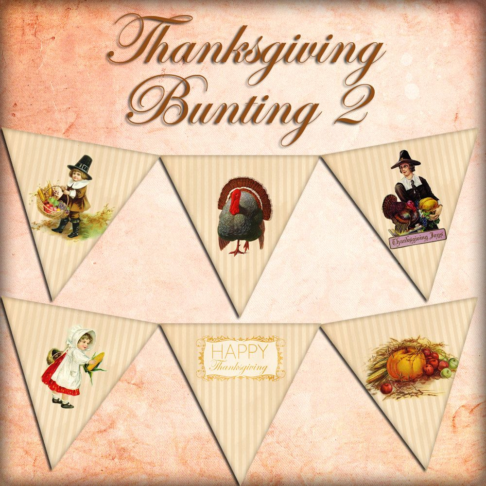 THANKSGIVING BUNTING Set 2 digital printable bunting download for scrapbooking, party printables and graphic design.