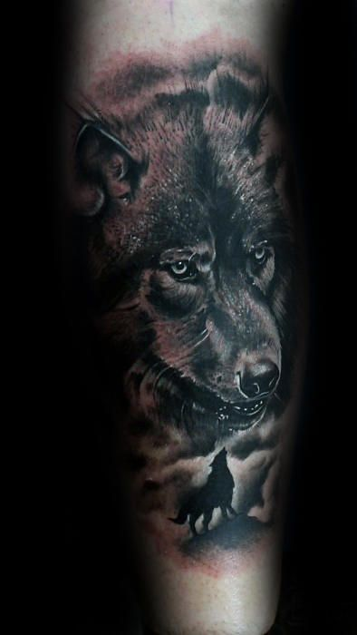 50 realistic wolf tattoo designs for men canine ink. Black Bedroom Furniture Sets. Home Design Ideas