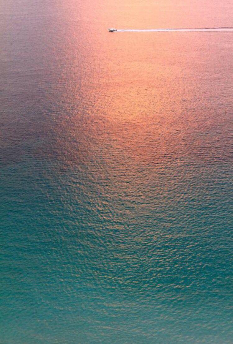 sunset moonlight ombre pink teal sea ocean boat wallpaper ...