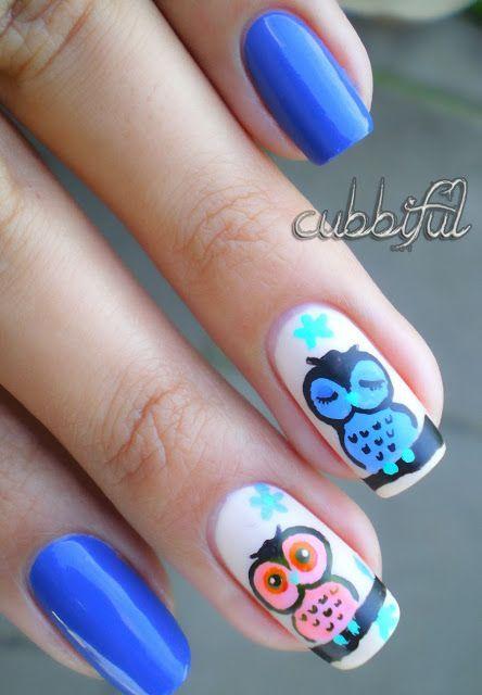 Owls Nail Art So Cute Owls Blue Nail Art Nailart Owl Accent