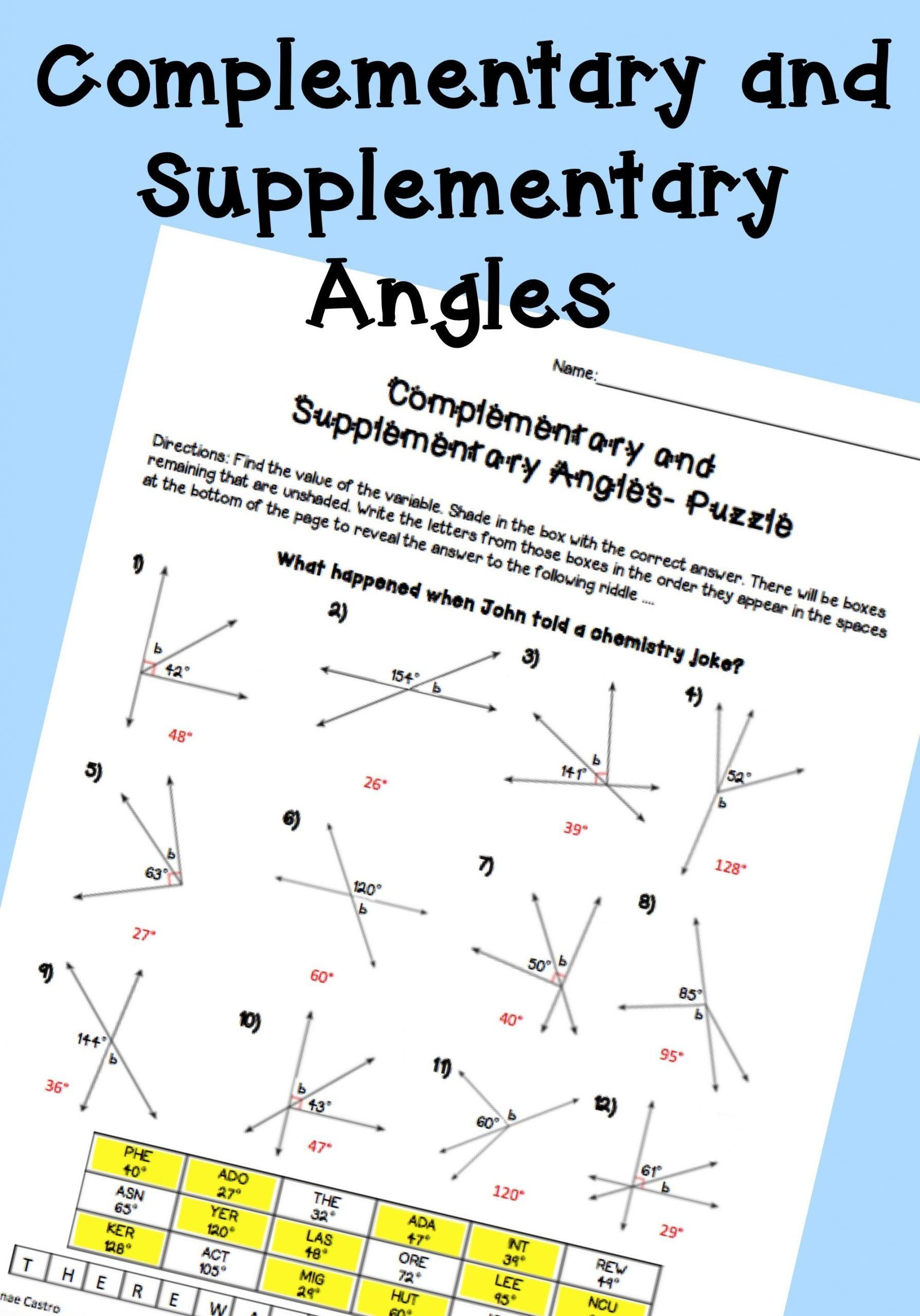 Lines And Angles Worksheet Plementary And Supplementary
