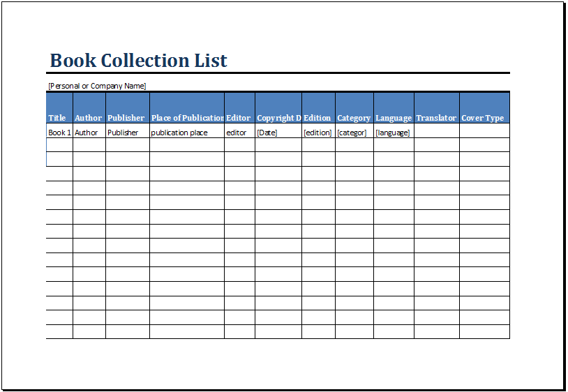 Printable Book Inventory List Template Ms Excel Excel Templates Printable Books List Template Books