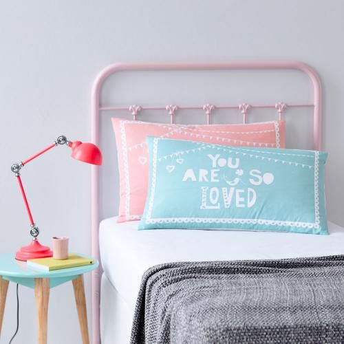 Adairs Kids You Are So Loved Pillowcase Mint