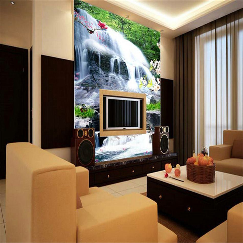 Fresh Designs Country Landscape Waterfall Wallpaper 3D Wall Mural Delectable Living Room Wallpaper Design Ideas Decorating Inspiration