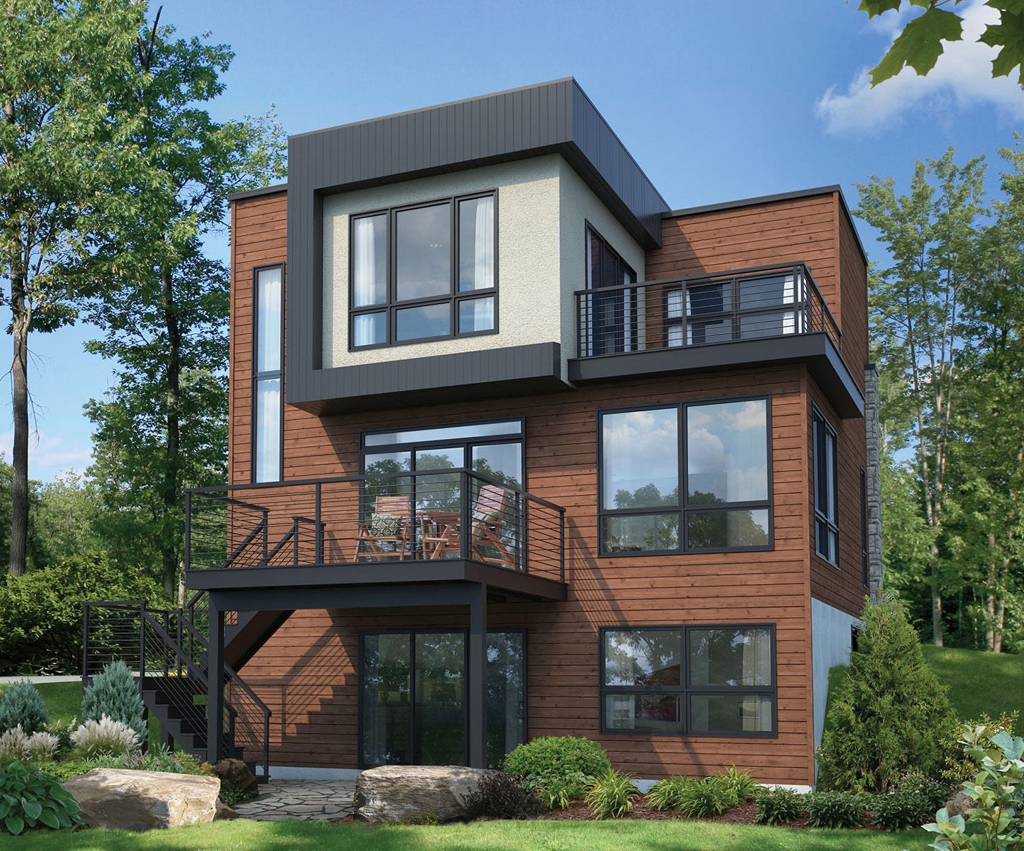 Plan 80776PM: Contemporary House Plan with Master Deck in