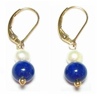 Pearl White Pearl And Lapis Bead 14K Yellow Gold Lever Back