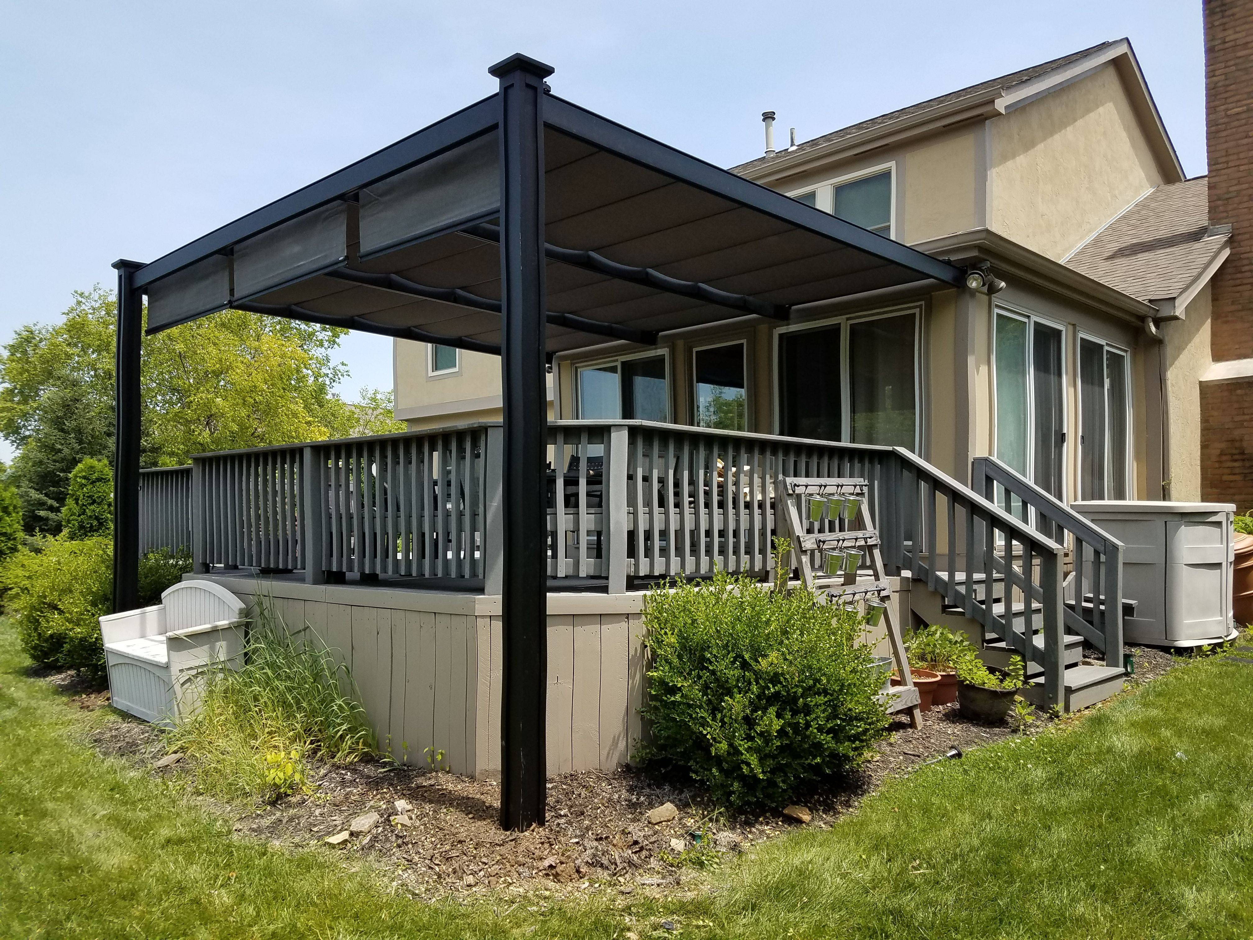 Attached Aluminum Bungalow Covering Existing Deck With Retractable Shade Retractable Pergola Canopy Retractable Pergola Pergola Canopy