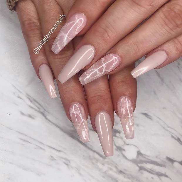 63 Nail Designs and Ideas for Coffin Acrylic Nails