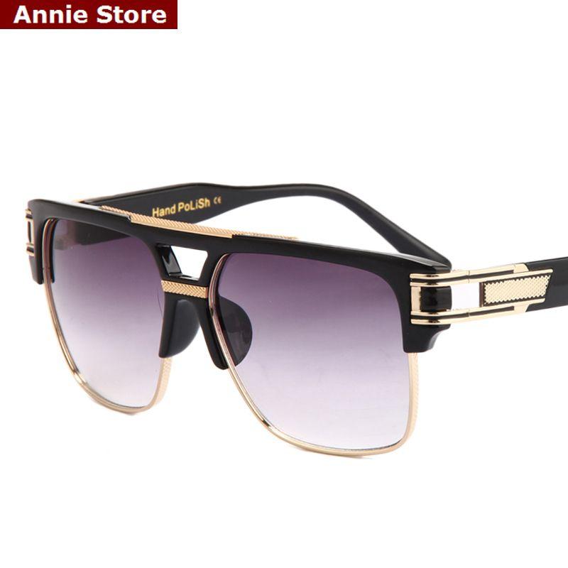Top Quality Men Sunglasses 2017 Brand Design Big Square Semi Rimless Sun Glasses Men Luxury Unisex UV400 mal2swoM