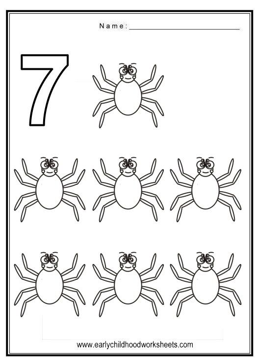 Number 7 Spider Coloring Page Coloring Pages Color