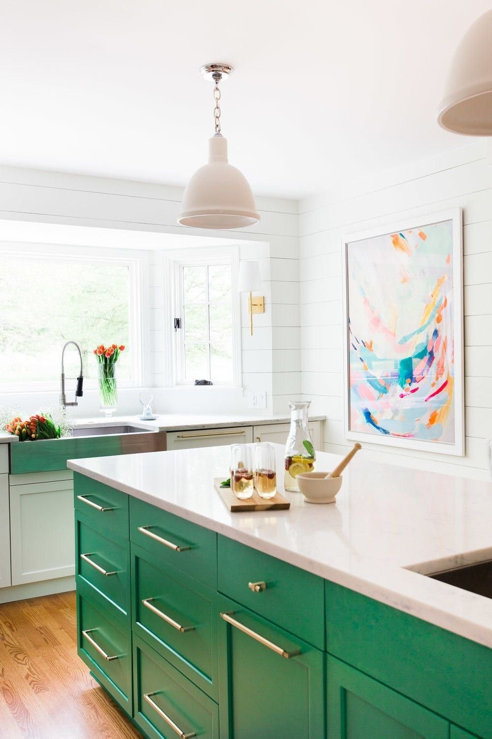 15 Kitchens With Bright Green Cabinets Green Kitchen Island Interior Design Kitchen Green Kitchen Cabinets