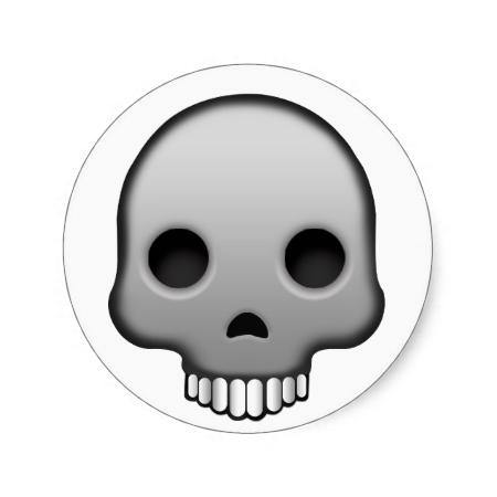 Skull Emoji Round Sticker Skull Sticker Skull Emoji