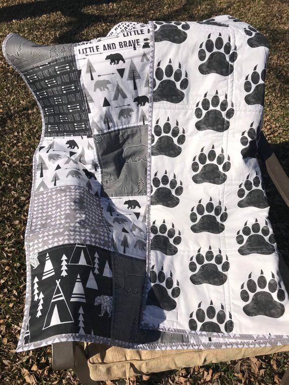 Baby Boy Handmade Quilt Woodland Boho Monochrome Patchwork Black White Gray Crib Bedding Nursery Dec #babyboyblankets