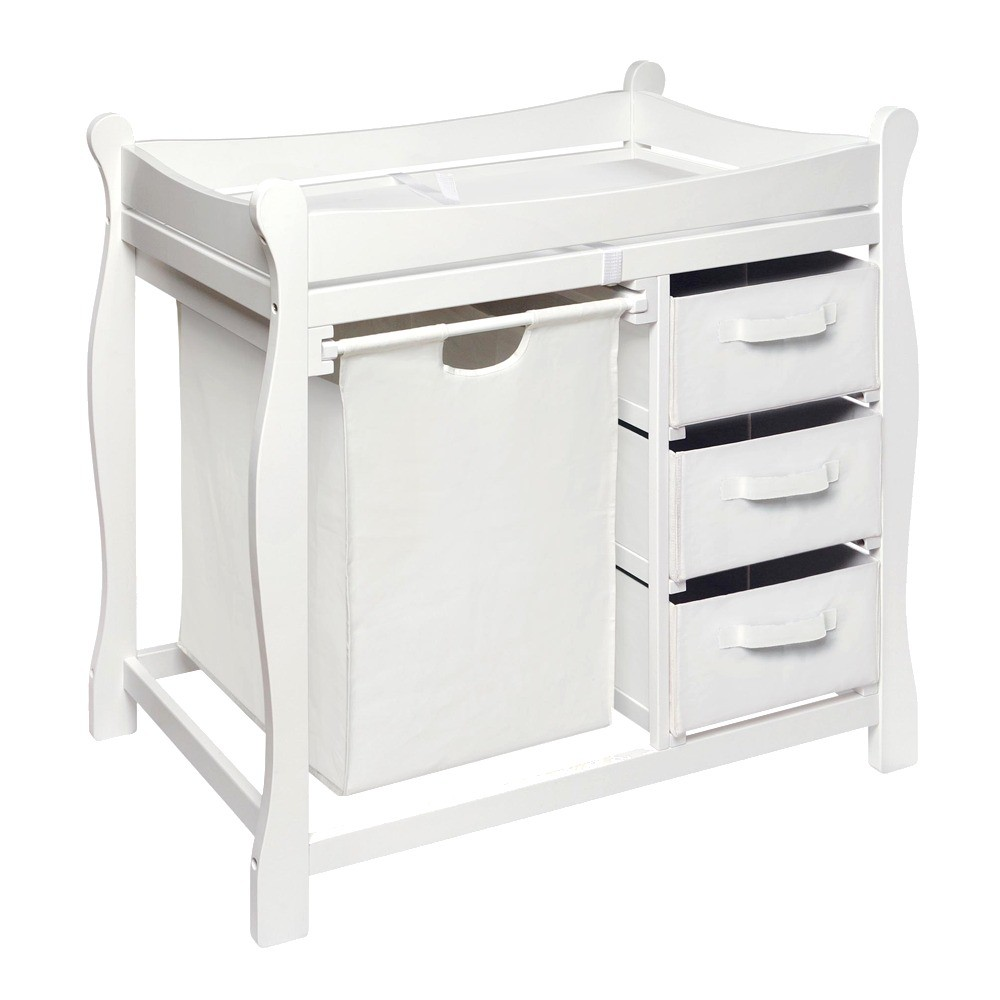 Badger basket changing table with hamper and baskets white ad
