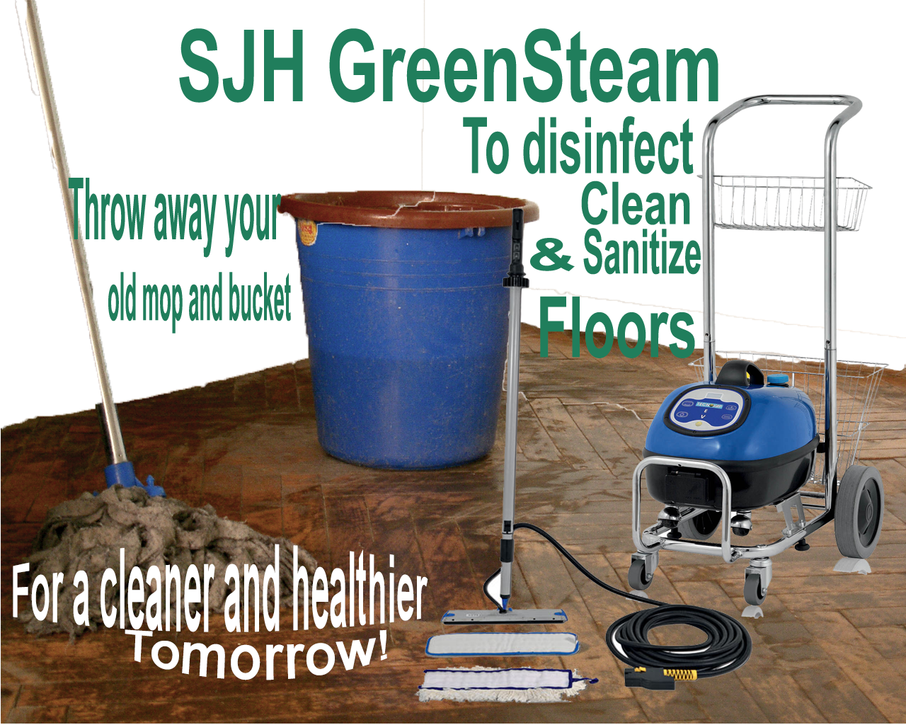 Washing your floor with dirty water, will never disinfect, clean and sanitize, the way vapor steam will.
