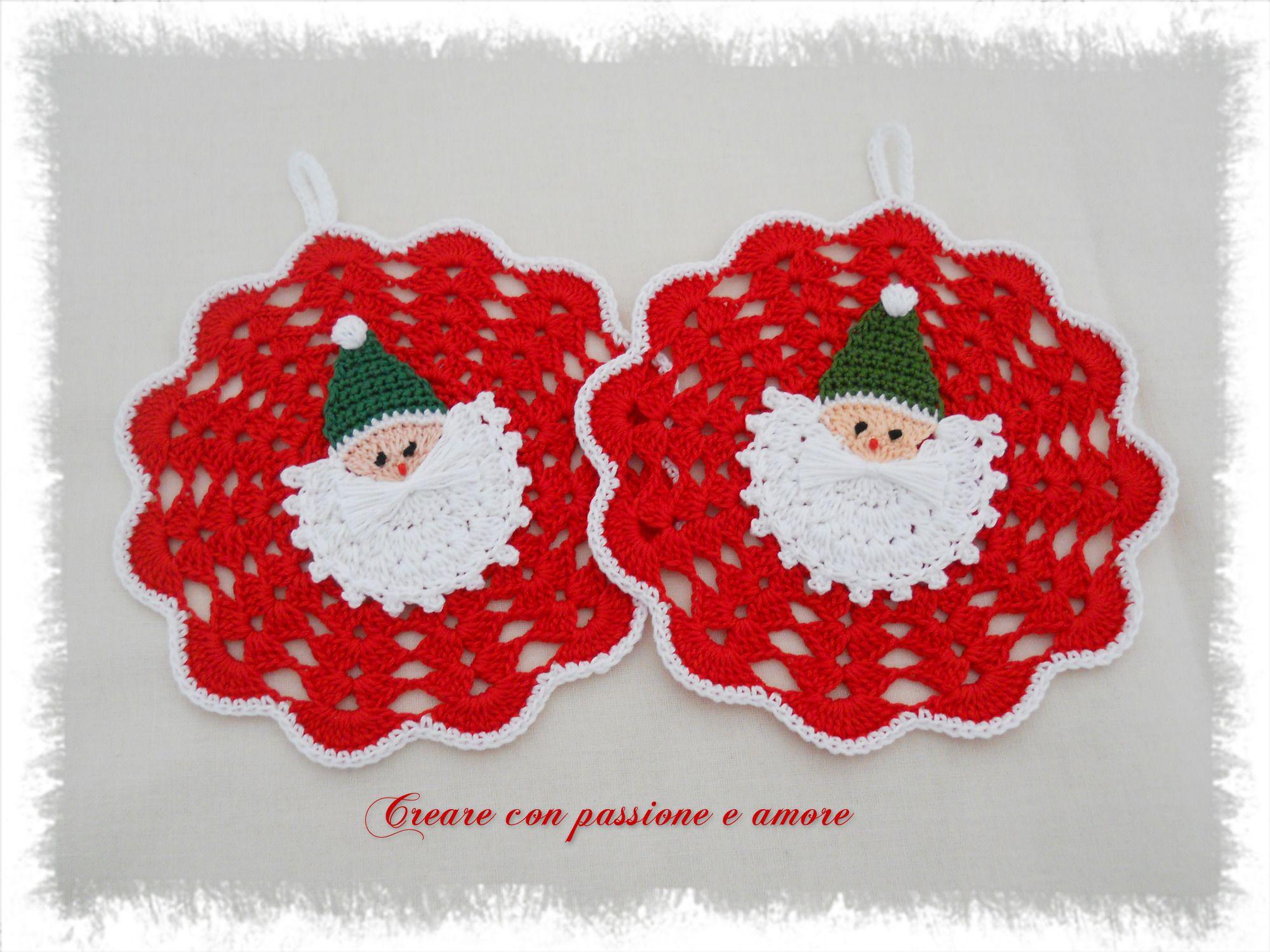 Presina Albero Di Natale Uncinetto.Presine Realizzate Ad Uncinetto In Cotone Con Applicazione