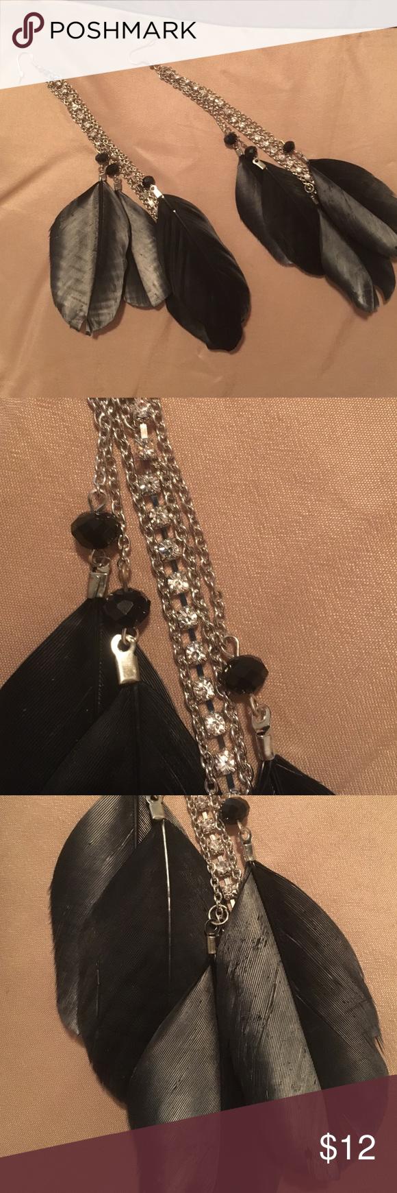 Rhinestone feather earrings! Never worn! Black feathers with rhinestone and beads! Jewelry Earrings