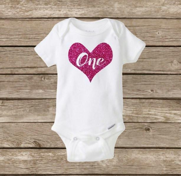 38d8d9240 Baby Girl Birthday Onesie Shirt, First Bday ONE, Glitter Heart, Celebrate,  Valentine's Day Party, #birthday #one #baby #girl #babygirl #party  #happybirthday ...
