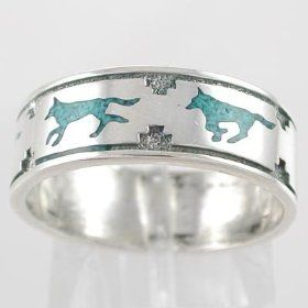 Southwestern Native American Style Running Wolf Band Ring In Sterling Silver With Turquoise Chip Inlay For