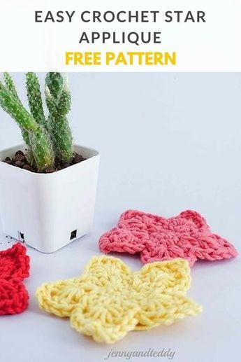 Easy Crochet Star Applique Free Pattern Heart Pinterest