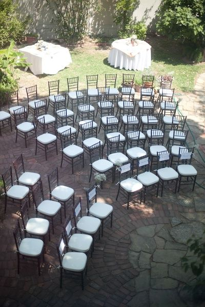 Ceremony Chair Set Up Rows Of 4 5 6 7 8 10 80 Chairs That Is On Either Side So You Could Do 3 Buckets Baby S Breath Spread Out