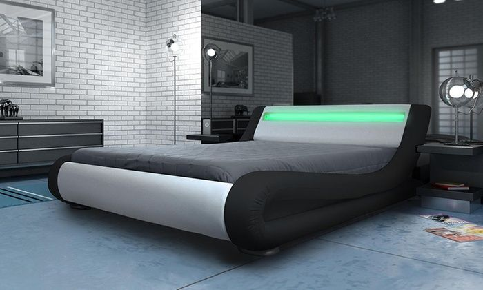 Manhattan Bed Frame With Led Lights Headboard From 189 98 With Free Delivery Bed Design Bedroom Bed Design Led Beds