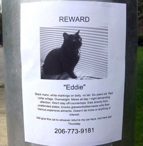 """Eddie"" for return of lost car keys. Sounds like a very unique deal."