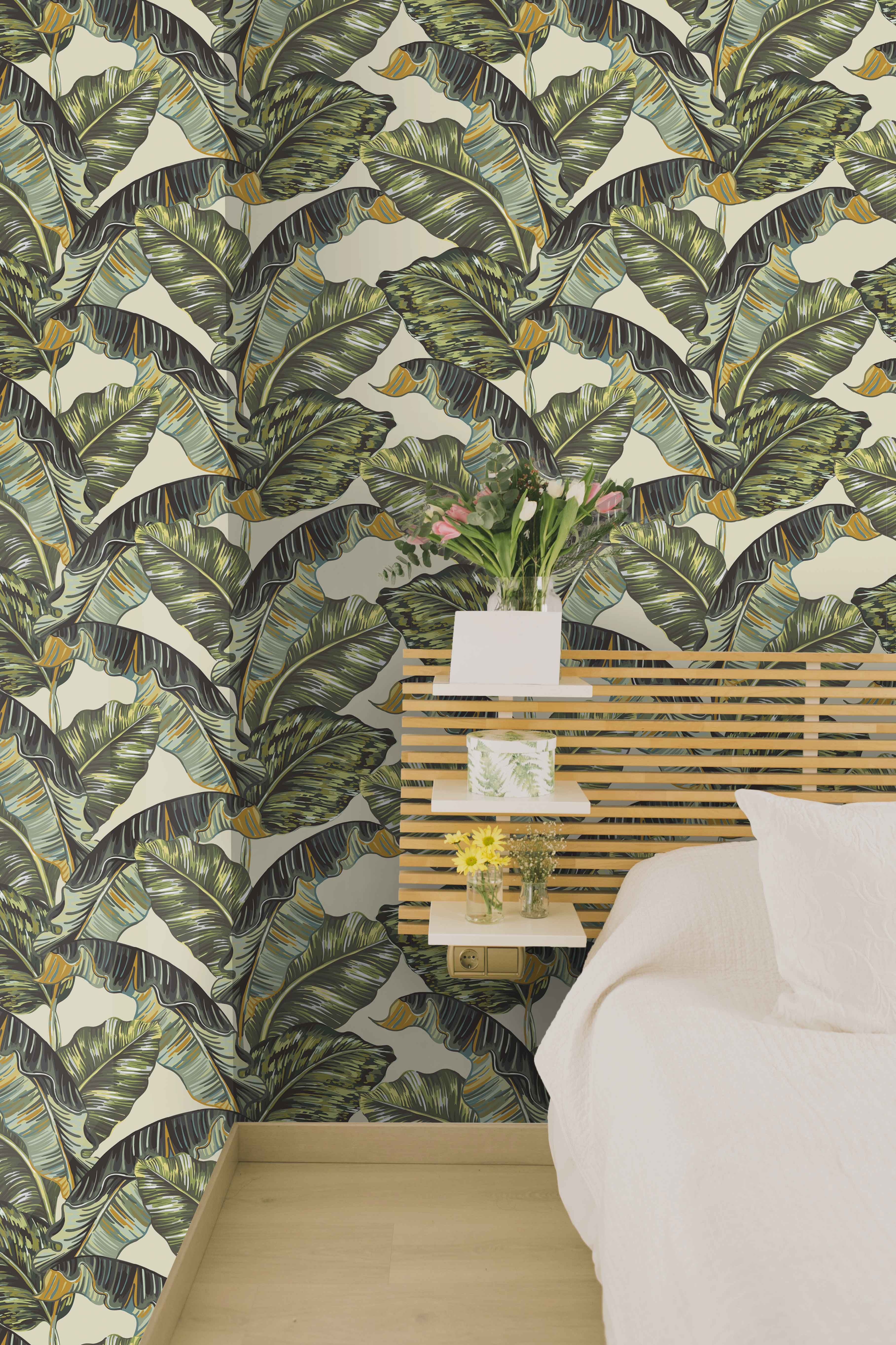 Palms On Beige Wallpaper Removable Peel And Stick Wallpapers Etsy Palm Leaf Wallpaper Tropical Wallpaper Tropical Home Decor