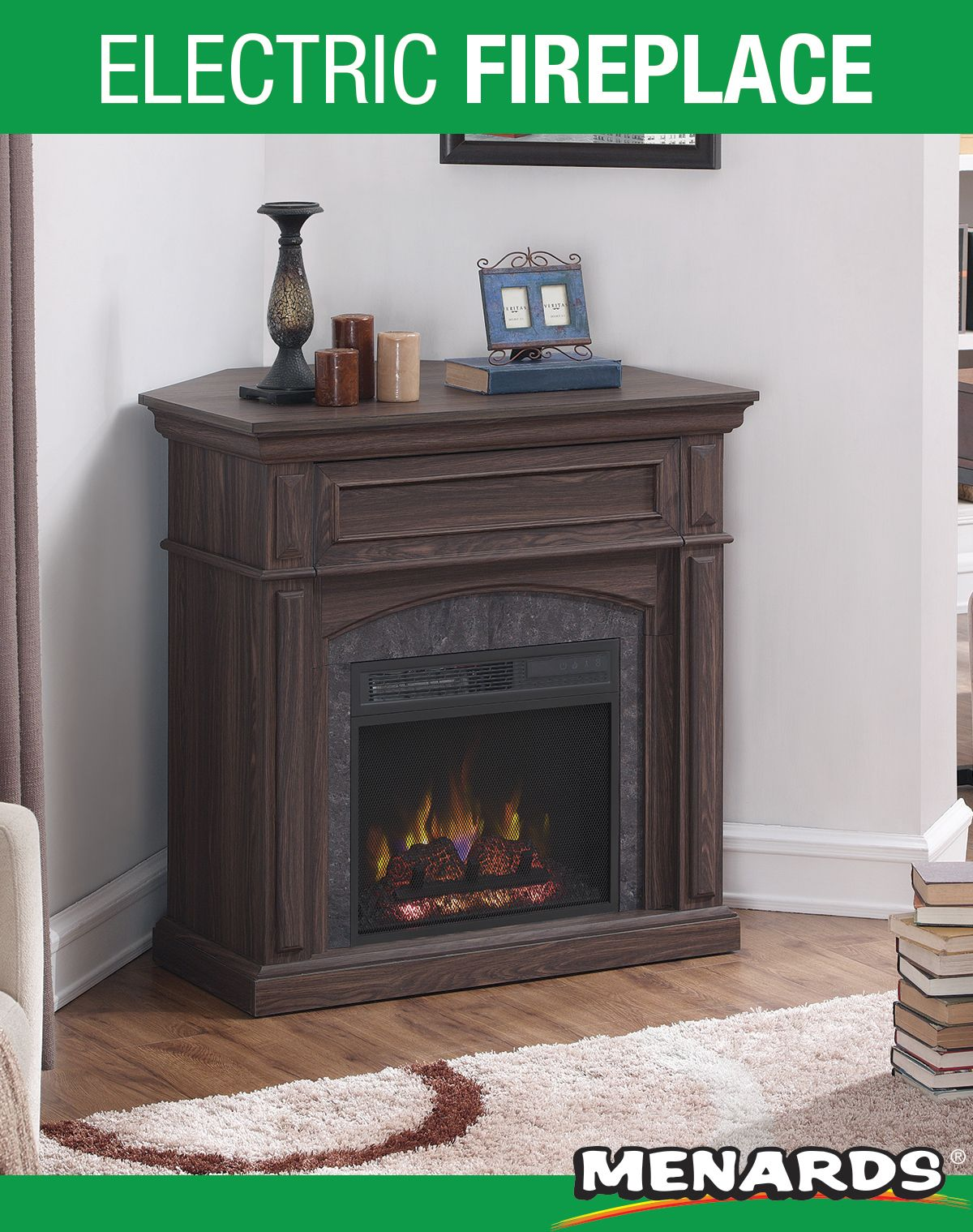 This Granton Electric Fireplace Mantel Can Be Placed Against A
