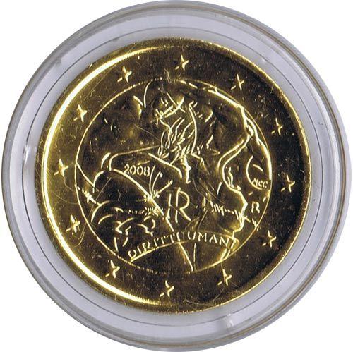 Moneda Conmemorativa 2 Euros Italia 2008 Chapada En Oro Tienda