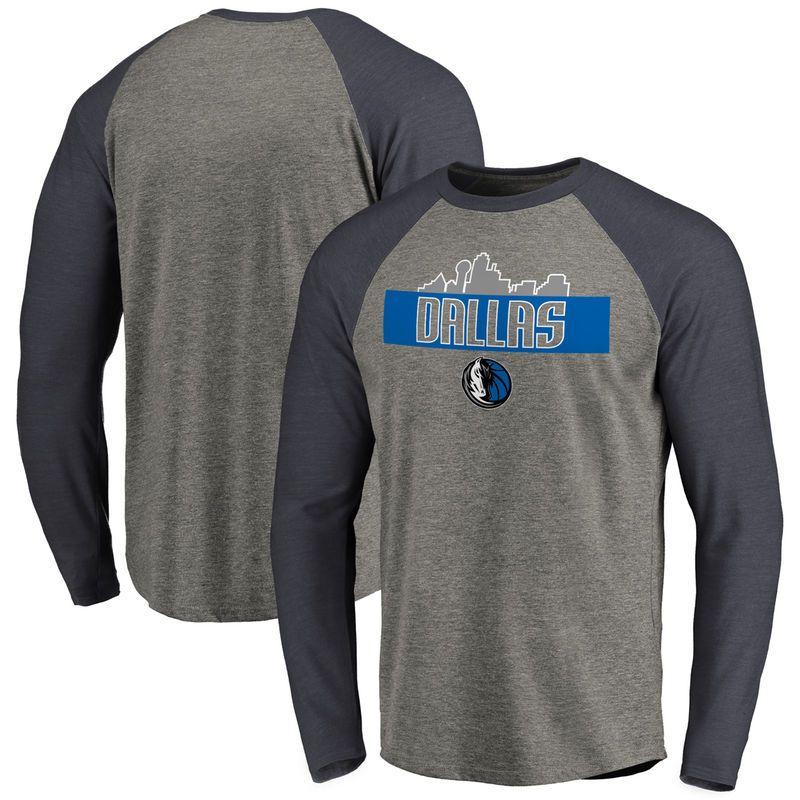 Dallas Mavericks Hometown Collection Skyline Raglan Tri-Blend Long Sleeve T- Shirt - Heather