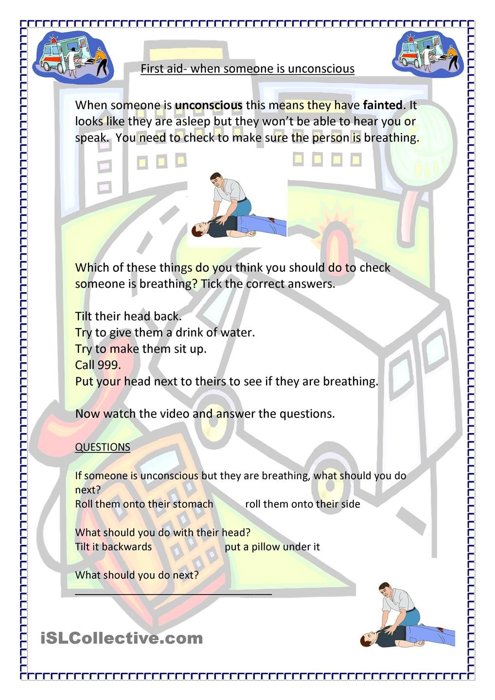 worksheet First Aid Worksheet Answers first aid unconscious yw ideas pinterest worksheets life worksheet free esl printable made by teachers