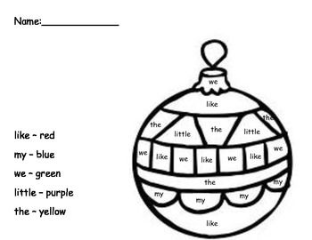 Kindergarten sight word ornament coloring freebie