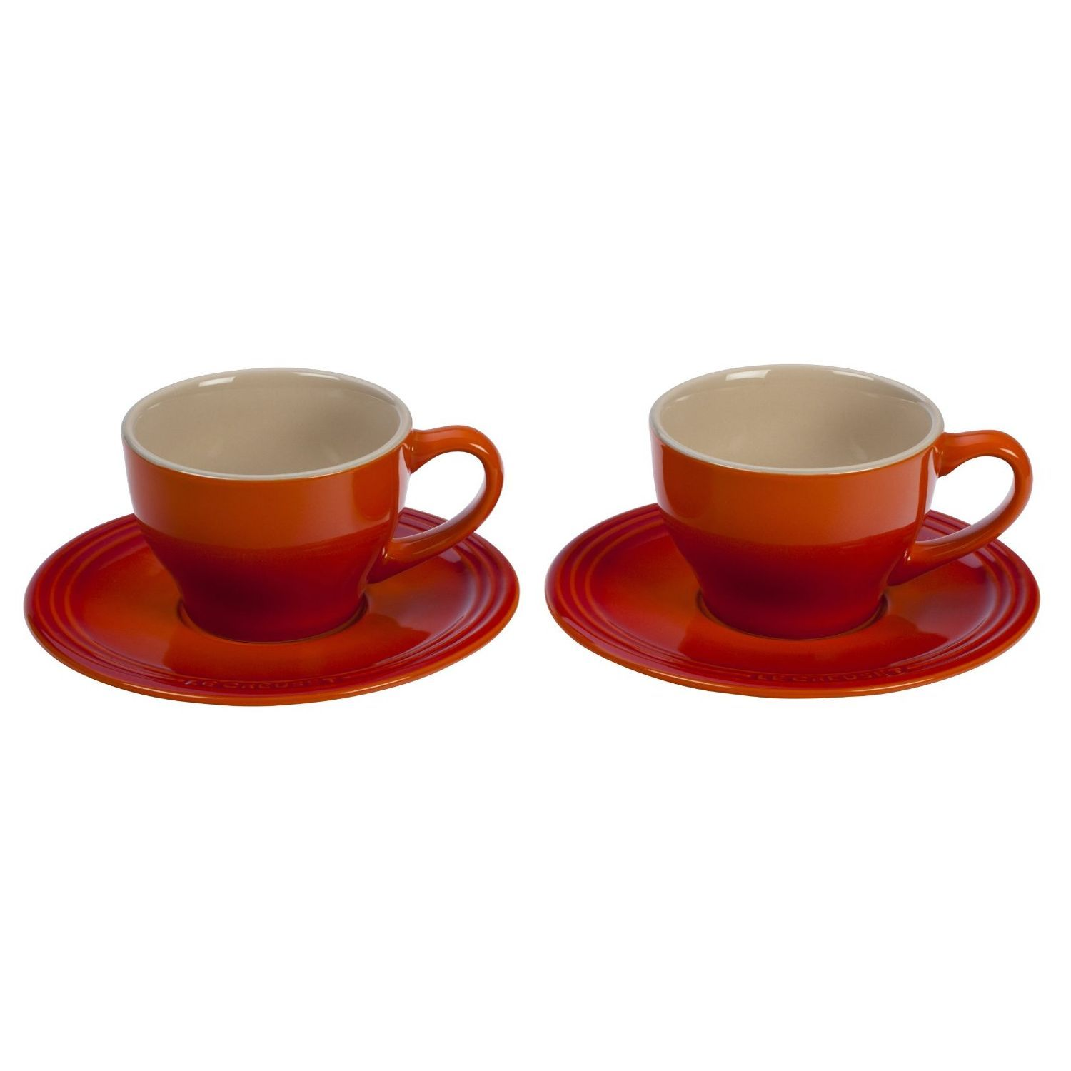 le creuset stoneware set of  cappuccino cups and saucers flame  - le creuset stoneware set of  cappuccino cups and saucers flame