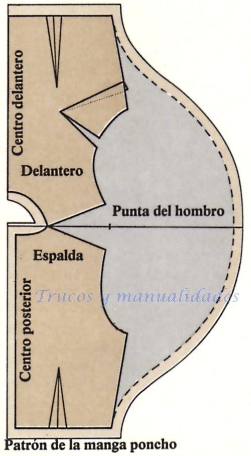 Patrón de la manga poncho | manga poncho | Pinterest | Líneas rectas ...