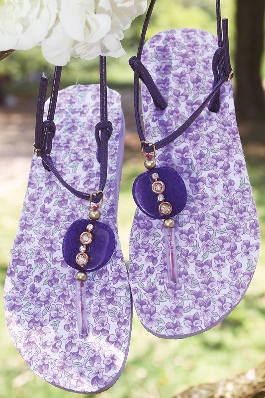 flip flop ideas purple floral sole beads