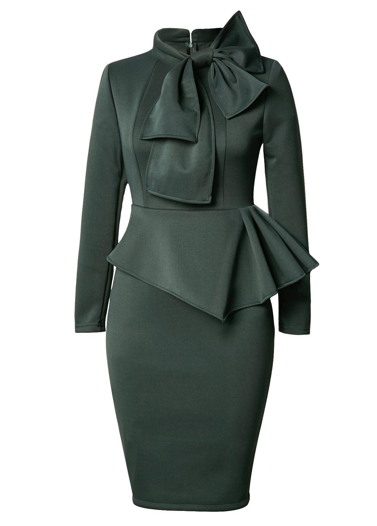 8c2959309e54 Long Sleeve Bowknot Embellished Peplum Waist Dress on sale only US$34.42  now, buy cheap Long Sleeve Bowknot Embellished Peplum Waist Dress at  lulugal.com