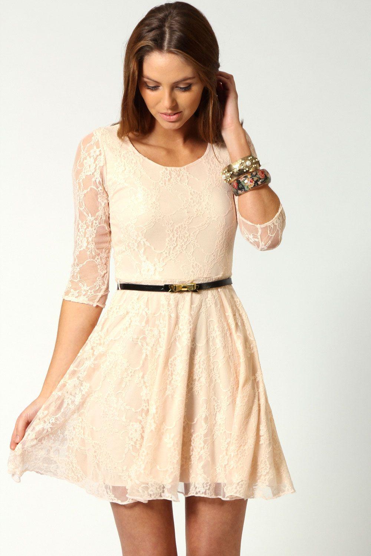 4e30d84c56d6 Tiffany Lace Skater 3 4 Sleeve Skater Dress