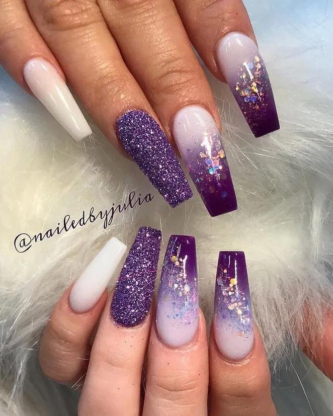 27 Popular Gel Glitter Coffin Nail Designs 1 Galeryhome Com Purple Acrylic Nails Purple Nail Art Purple Nail Designs