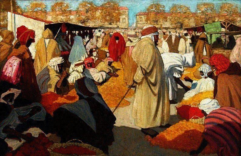 Henri Evenepoel (Belgian 1872–1899) [Fauvism, Impressionism, Post-Impressionism] Orange market in Blidah, 1898. Koninklijk Museum voor Schone Kunsten Brussel, Belgium. - Orientalism.