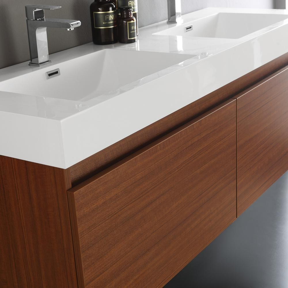 Fresca Mezzo In Vanity In Teak With Acrylic Vanity Top In White - Teak bathroom countertop