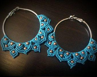 Macrame Earrings Tribal Macrame Hoops Statement by stoneagetale