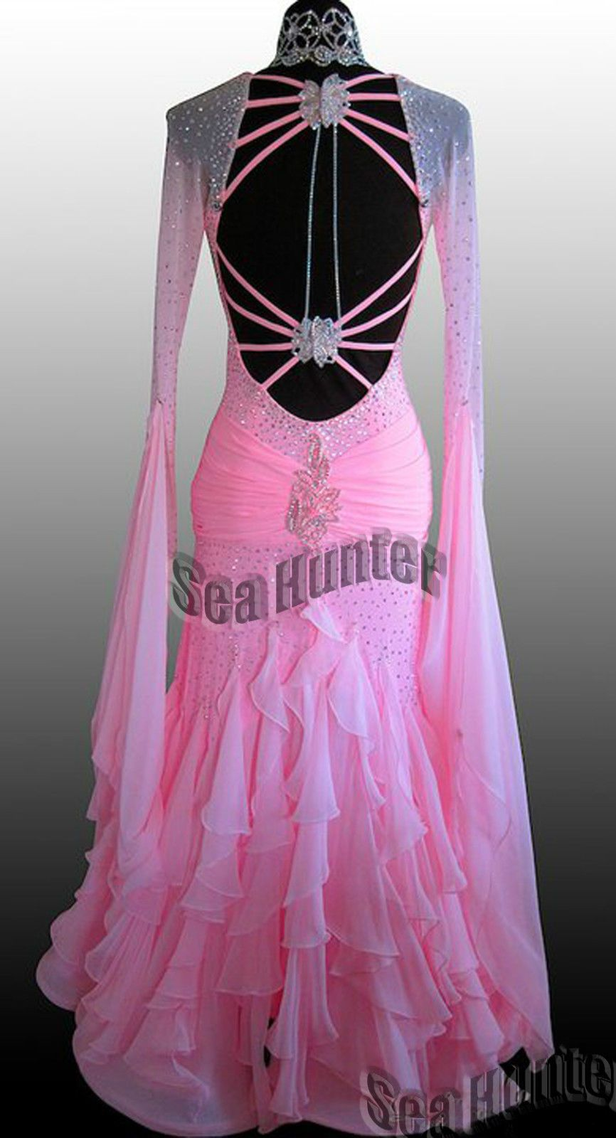 Ballroom Everday Standard Waltz Tango Dance Dress US 8 UK 10 Sliver ...