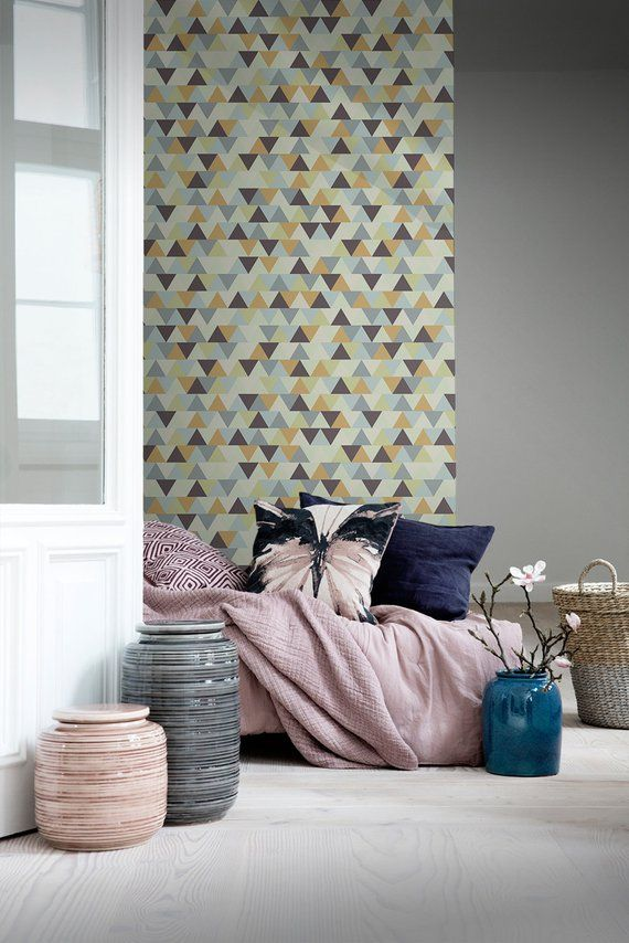 Muster Geometric Removable Wallpaper Brown Orange And Gray Wall Mural Wall Covering 243 Geometric Removable Wallpaper Grey Walls Wall Murals