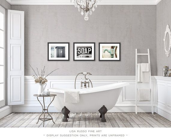 Bathroom Decor Set Of 3 Photographs Art Rustic Vintage
