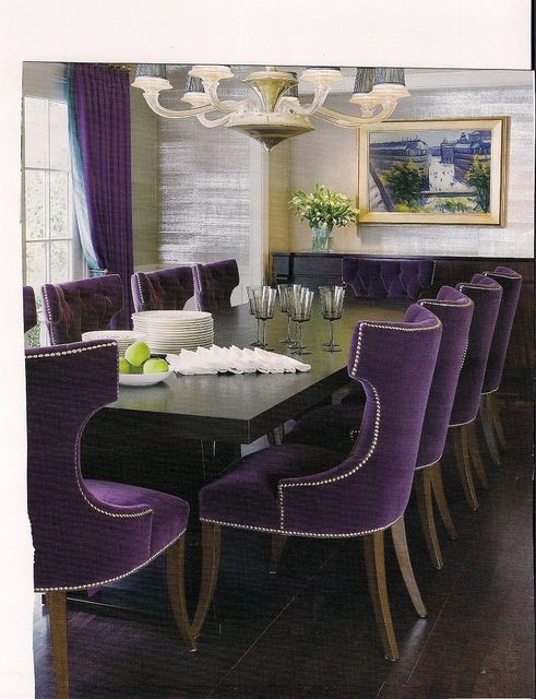 Purple Velvet Chairs Create Drama Purple Dining Room Bold Dining Room Decor Purple Dining Chairs