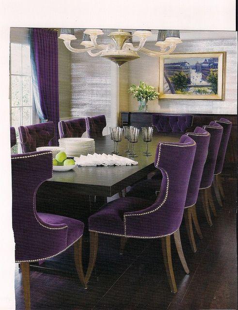 Purple Velvet Chairs Create Drama Purple Dining Chairs Bold
