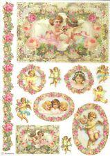 Papel De Arroz Para Decoupage Scrapbooking y otros, Vintage Angels Rosas A4