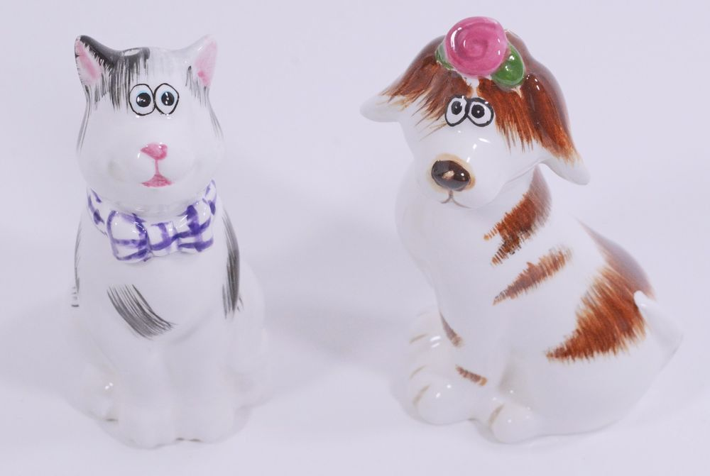Vintage Cat and Dog Ceramic Salt and Pepper Shakers 4 1/2""